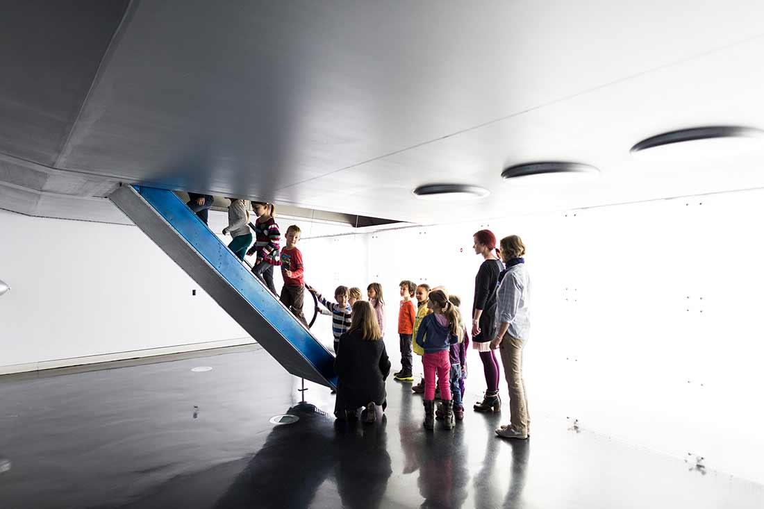 Aufregend: der Einstieg in die Hindenburg (Rekonstruktion)