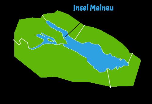 Die Lage im Bodensee - Insel Mainau