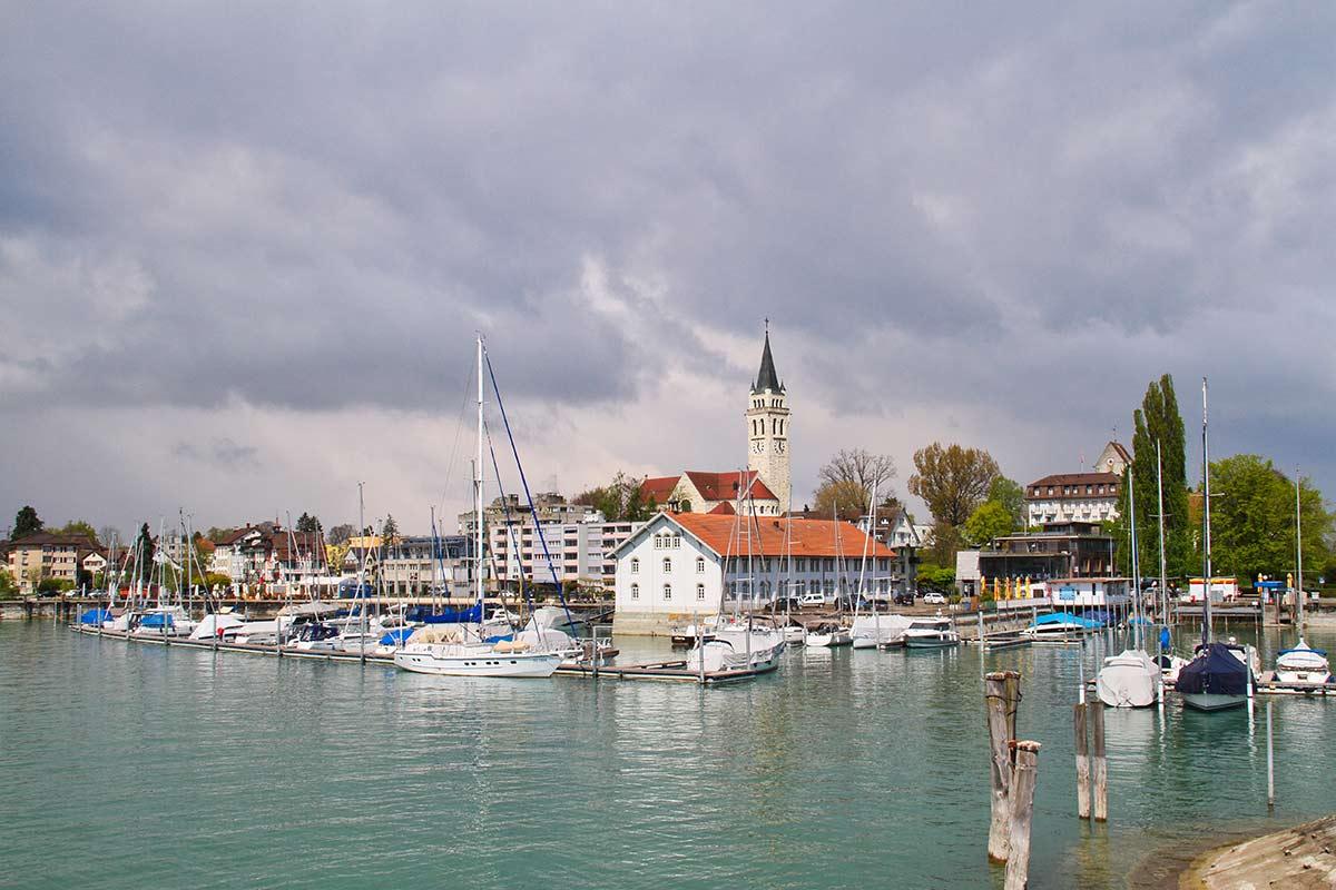 Das Städchen Romanshorn am Schweizer Bodenseeufer